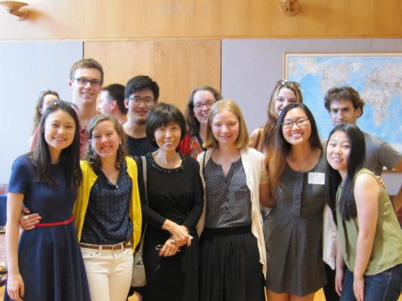 Professor Yu with students.