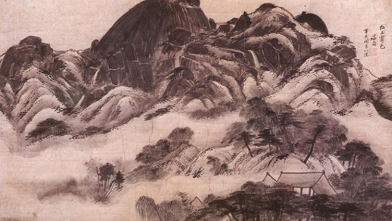 Traditional Korean painting of a mountain with fog and villages.